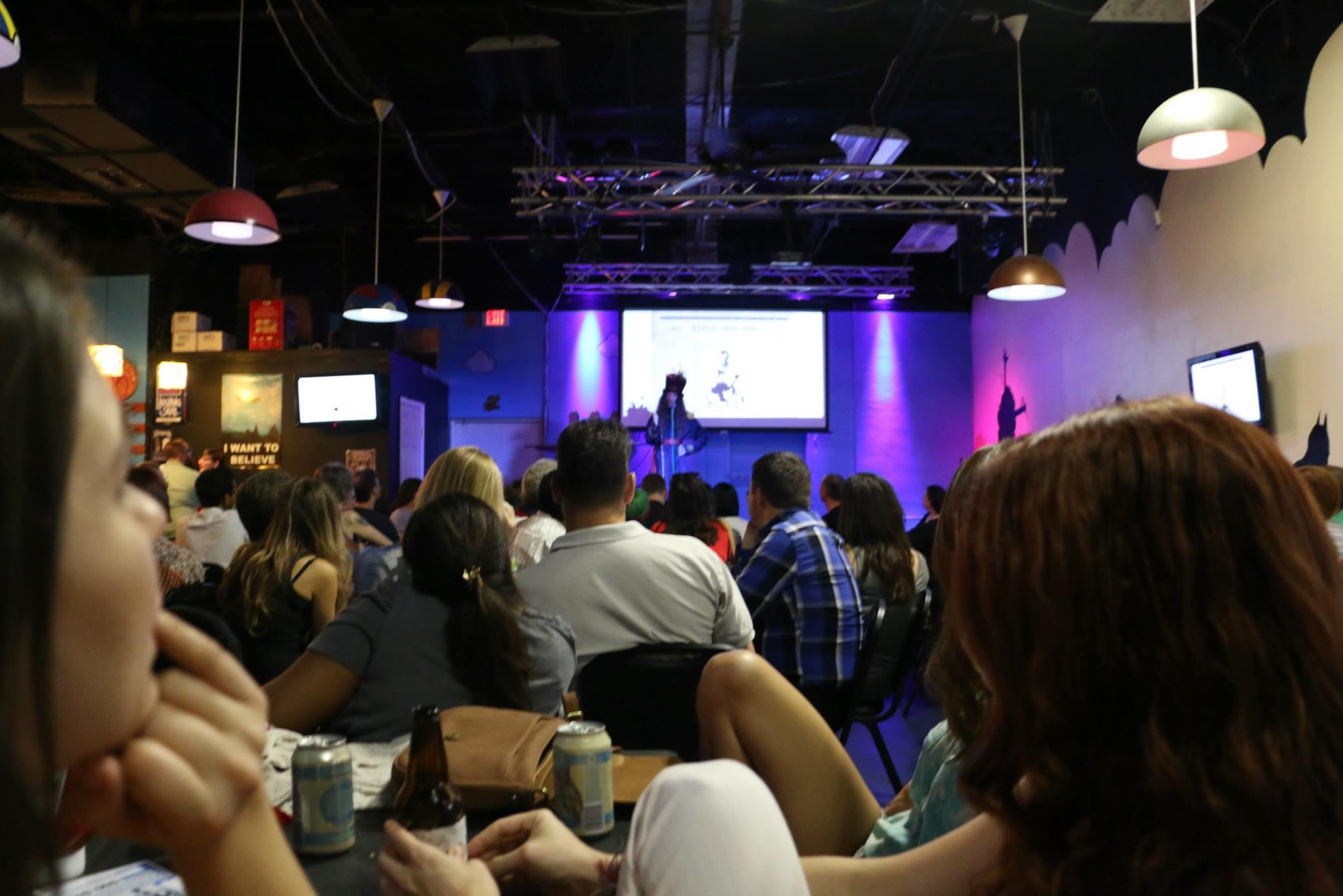 Jonathan Pamplin offers a presentation on Emperor Norton at Nerd Nite Orlando XXVII, held at The Geek Easy on 14 May 2015.Photo: Ricardo Williams