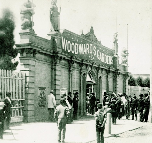 Entrance to Woodward's Gardens. Collection of the San Francisco Museum & Historical Society. Source.  Found SF .
