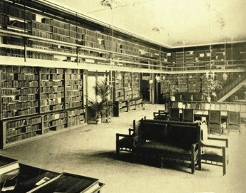 Detail of photograph of the second-floor Library Room of the 1866 building of the Mechanics' Institute, San Francisco. The Institute was a regular afternoon haunt of Emperor Norton. He  wrote many of his Proclamations there and would have been very familiar with this room. Source:  Mechanics' Institute .