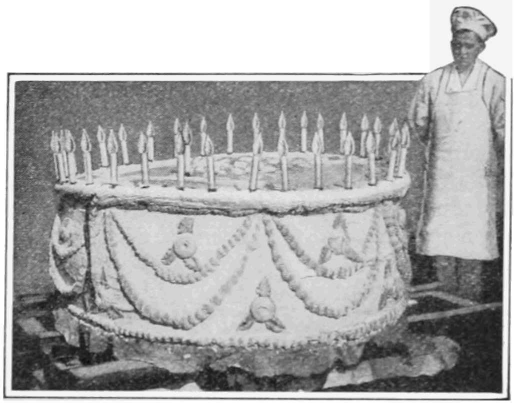 This 9-layer cake was created in 1916 to celebrate the 35th birthday of a large women's-goods store in Columbus, Ohio. The cake weighed nearly one ton. Source:  Popular Science Monthly