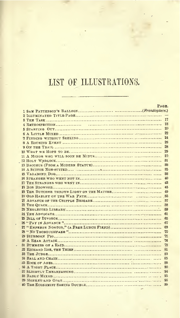 Partial list of illustrations from Palmer Cox,  Squibs of California, or, Every-Day Life Illustrated  (Mutual Publishing Company and A. Roman & Co., 1874), p. xiii. Source:  Internet Archive