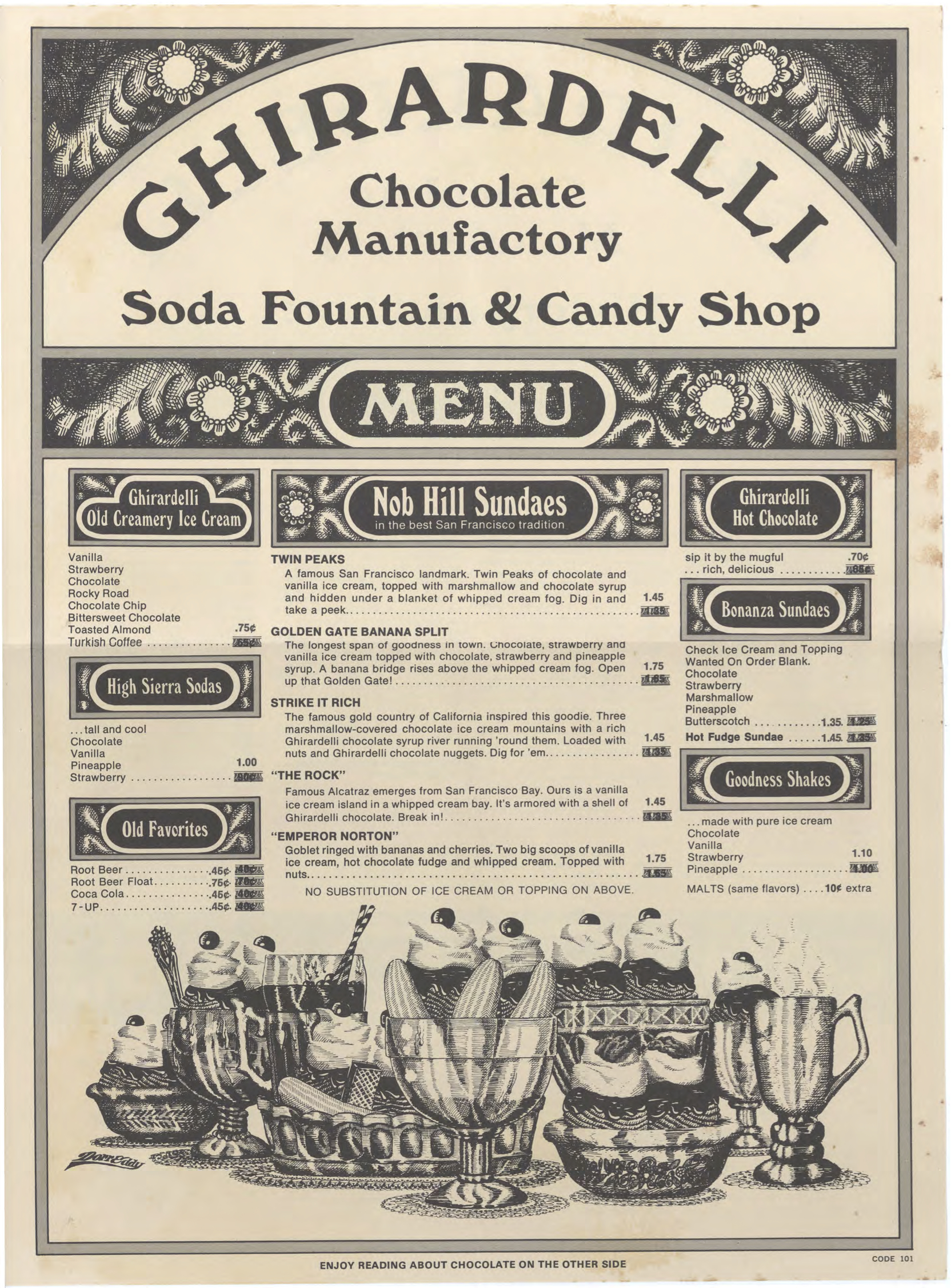 From Ghirardelli menu, mid 1970s.  Source: Rusty Thomas Menu Collection,  University of Hawaii .   ©  Ghirardelli