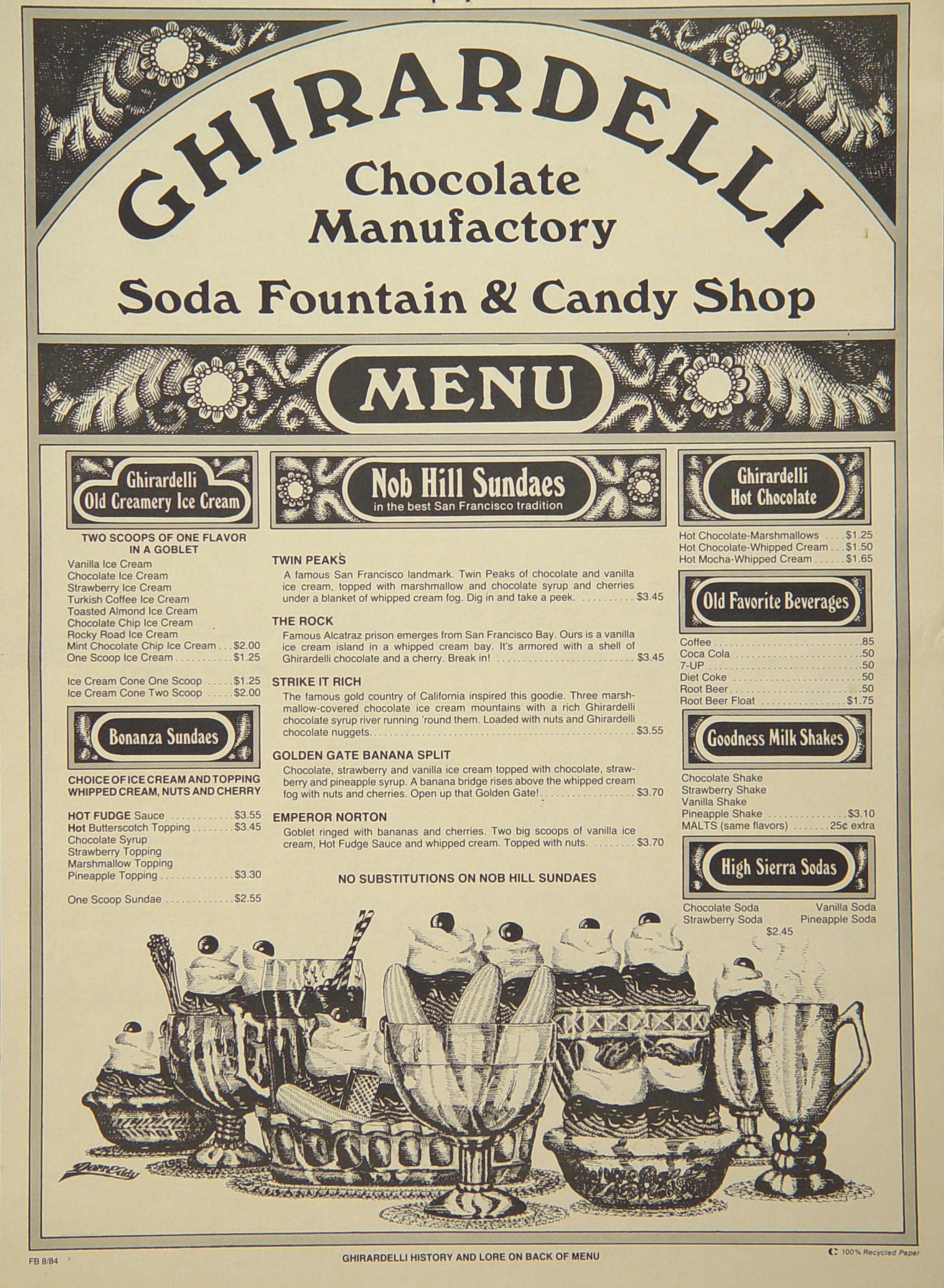 From Ghirardelli menu, 1984.  Source: Marilyn B. Feingold Menu Collection, Johnson & Wales University .   ©  Ghirardelli