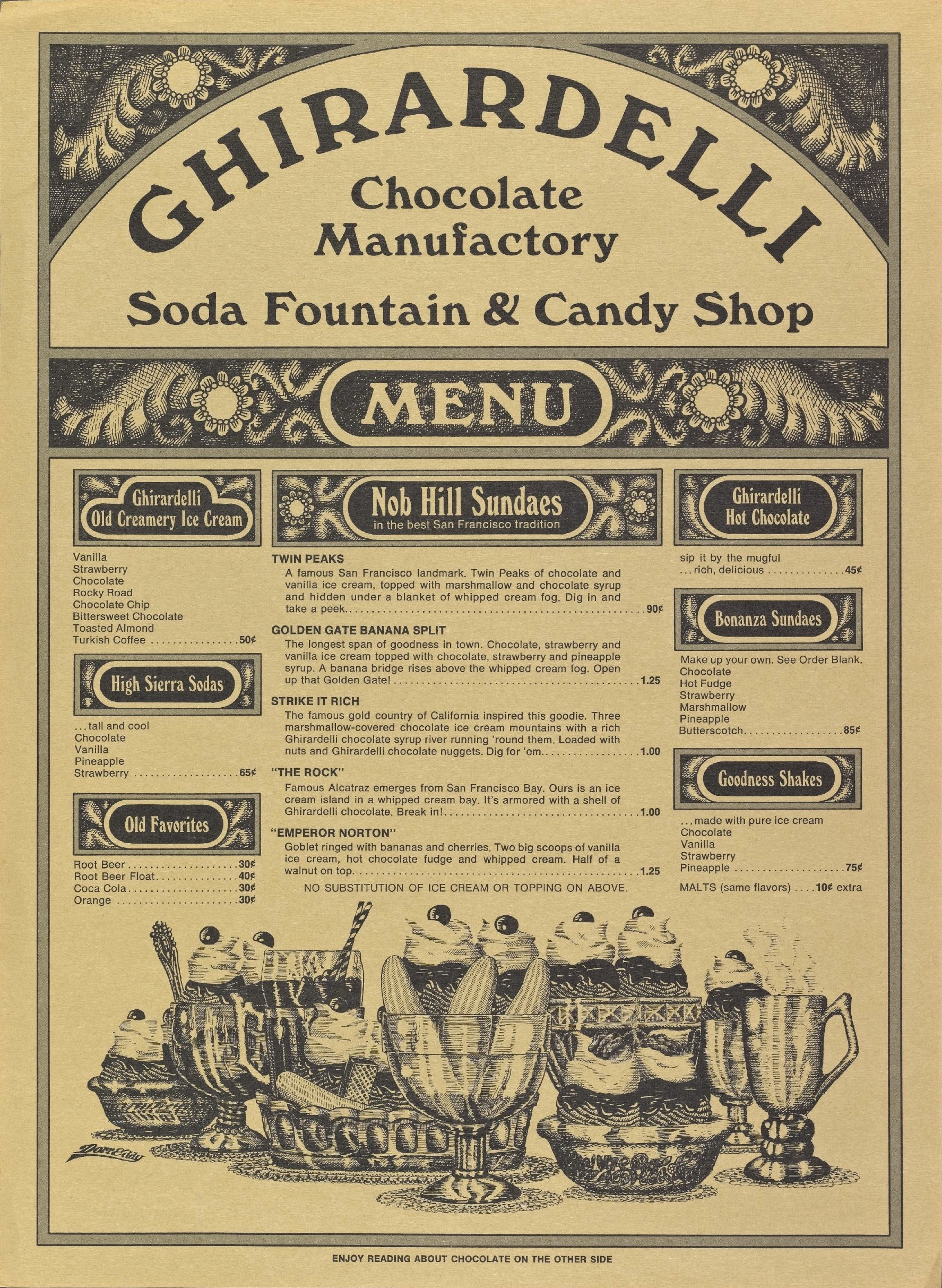 From Ghirardelli menu, early 1960s.  Source: Dieter Zander Collection, New York Public Library . ©   Ghirardelli
