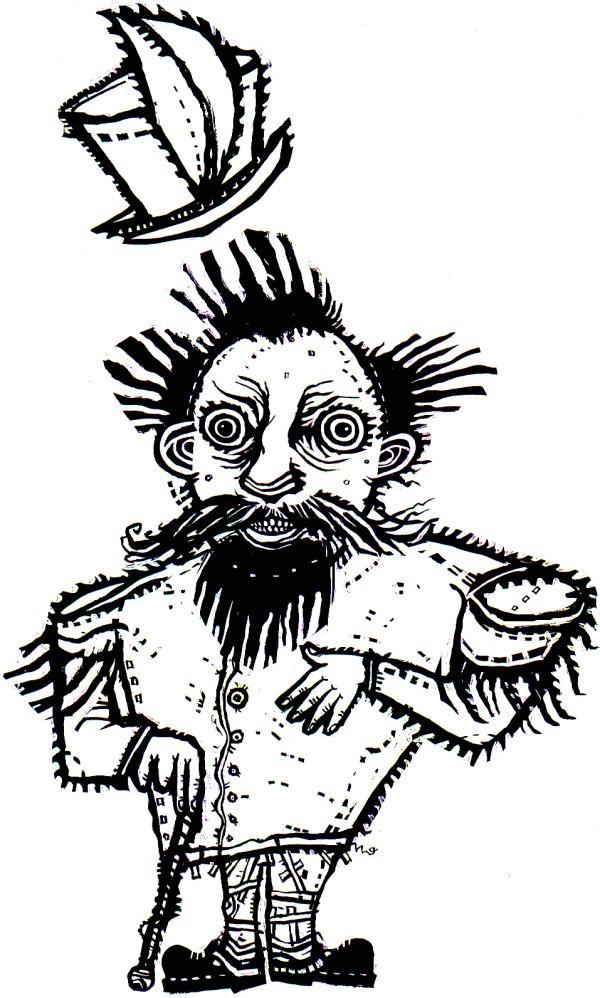 Illustration, 2008, by Dennis Palmer (1957-2013). Artwork for 2009 CD of Gino Robair's opera,  I, Norton.   © 2008 Dennis Palmer. Source: Dennis Palmer .