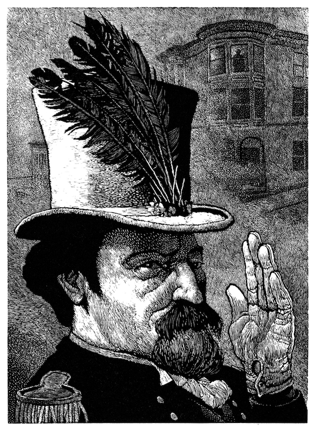 """""""Emperor Norton I"""" (2005),wood engraving by Jim Westergard (b. 1939).  Included in  Oddballs  (2011), a collection of Westergard's portrait engravings originally published in a limited edition of 30 by Heavenly Monkey studio.  © 2005 Jim Westergard.Source:  Jim Westergard ."""