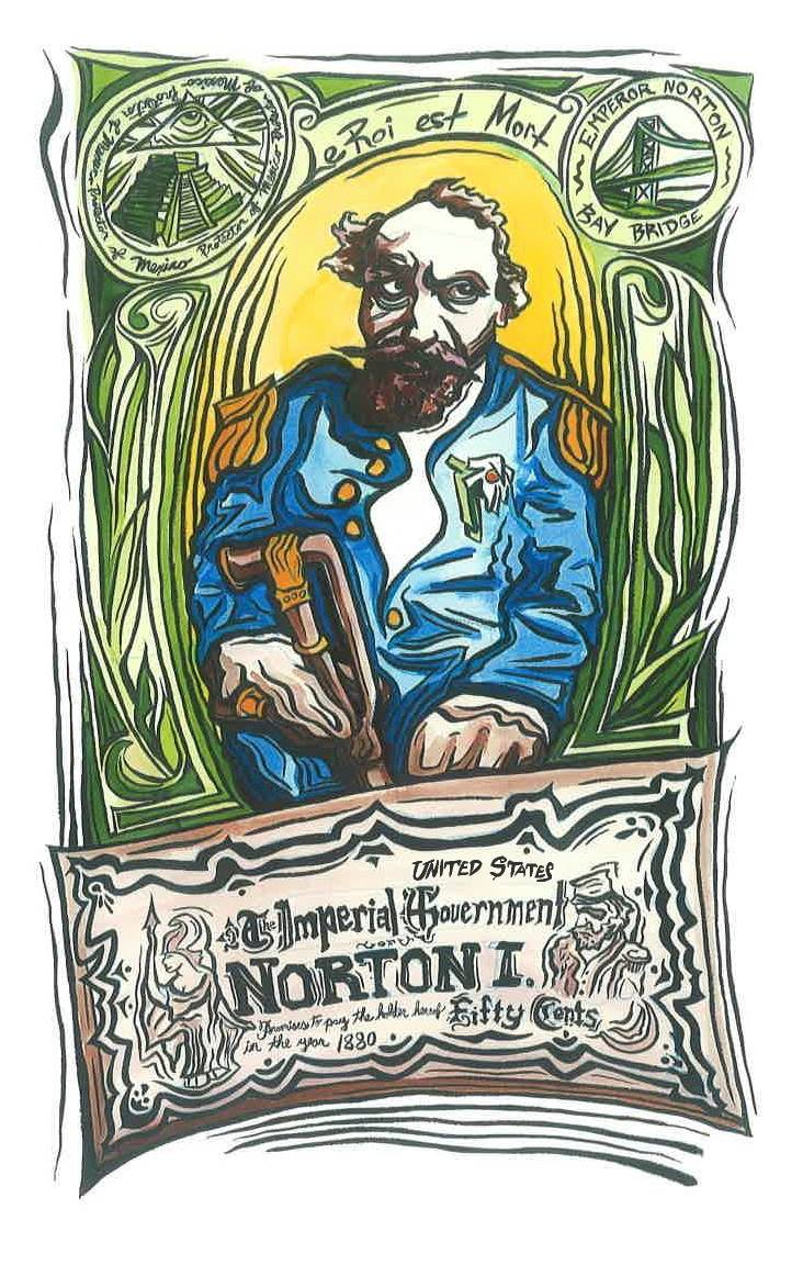 """""""Le Roi Est Mort"""" (2014), water color and India ink, by Brian Stannard.  Commissioned by Emperor Norton's Boozeland, San Francisco, and on view at the bar.  © 2014 Brian Stannard. Source:  Brian Stannard ."""