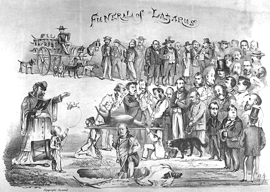 """Funeral of Lazarus,"" October 1863, by Edward Jump (1832-1883).  Collection of the Bancroft Library at UC Berkeley. Source:  Wikipedia ."