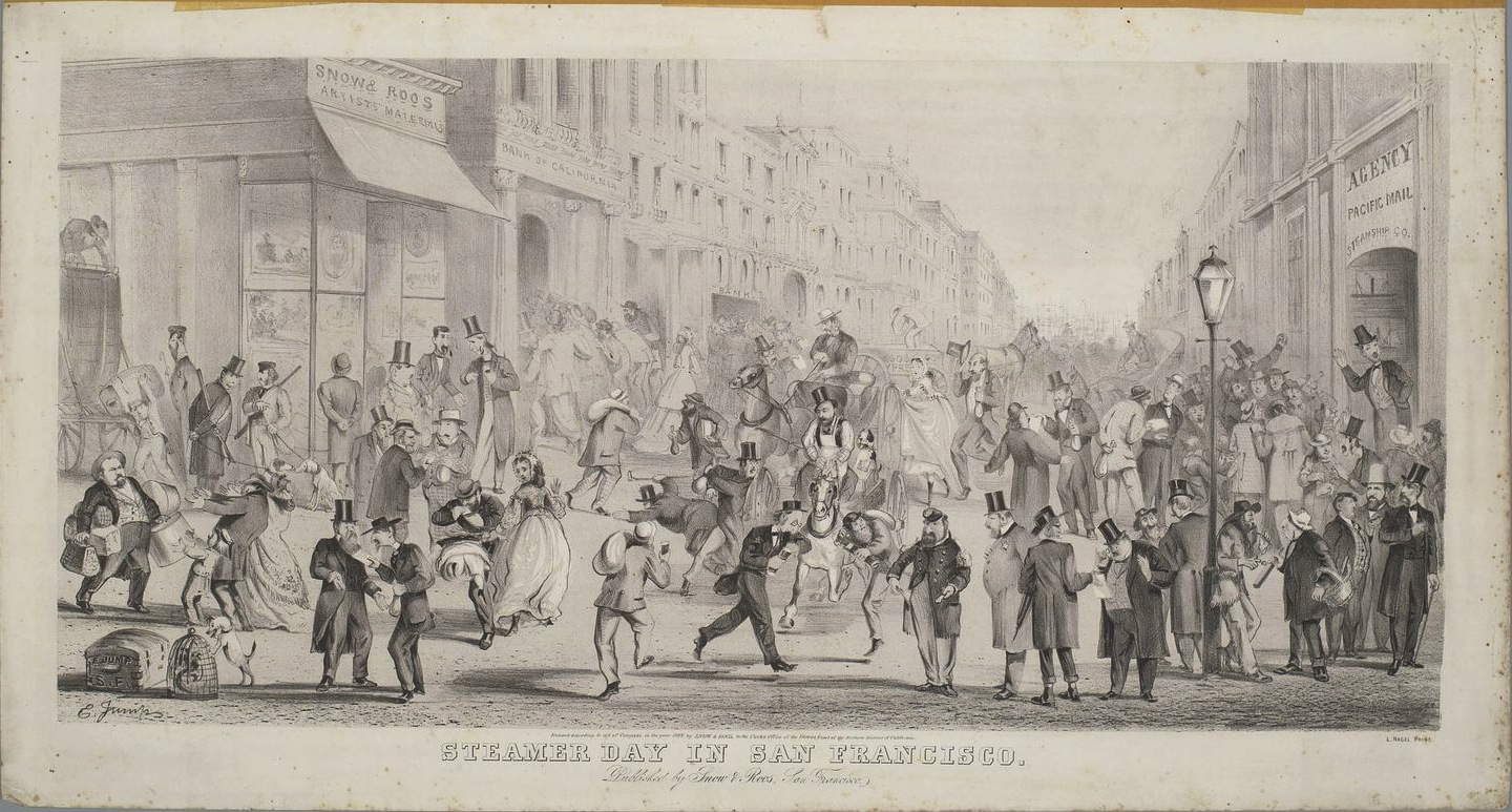 """Steamer Day in San Francisco,"" April 1866, by Edward Jump (1832-1883).  Steamer Day  —  which occurred twice a month, once toward the middle of the month and once toward the end  —  was the day when bills were to be paid. Hence, the humor that Jump found in depicting Emperor Norton showing empty pockets to an onlooking official. Collection of the Bancroft Library at UC Berkeley. Source:  Calisphere ."