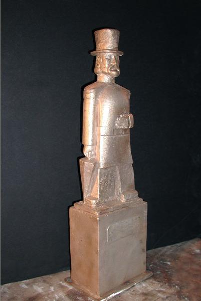 Maquette of Emperor Norton in tophat (1936), by Peter Macchiarini (1909-2001).  Source:  Macchiarini Creative Design .
