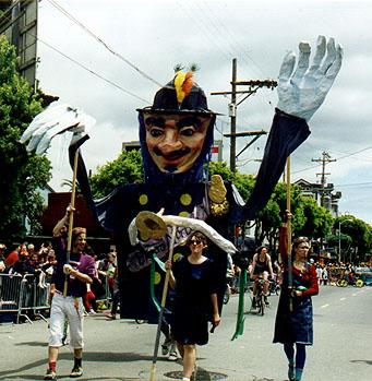Emperor Norton puppet, 1997, by Mona Caron.  For 1997 San Francisco Carnival parade. Source:  Mona Caron .