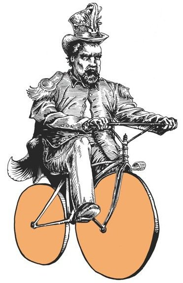 """Emperor Norton I"" (2010), by Michael D. Morgan.  Originally exhibited at the 2010 Artcrank SF group show of bicycle-themed poster art. Inspired by an 1869  photograph   of Emperor Norton by Eadweard Muybridge. Limited edition print on view at Emperor Norton's Boozeland, San Francisco.  ©  2010 Michael D. Morgan."