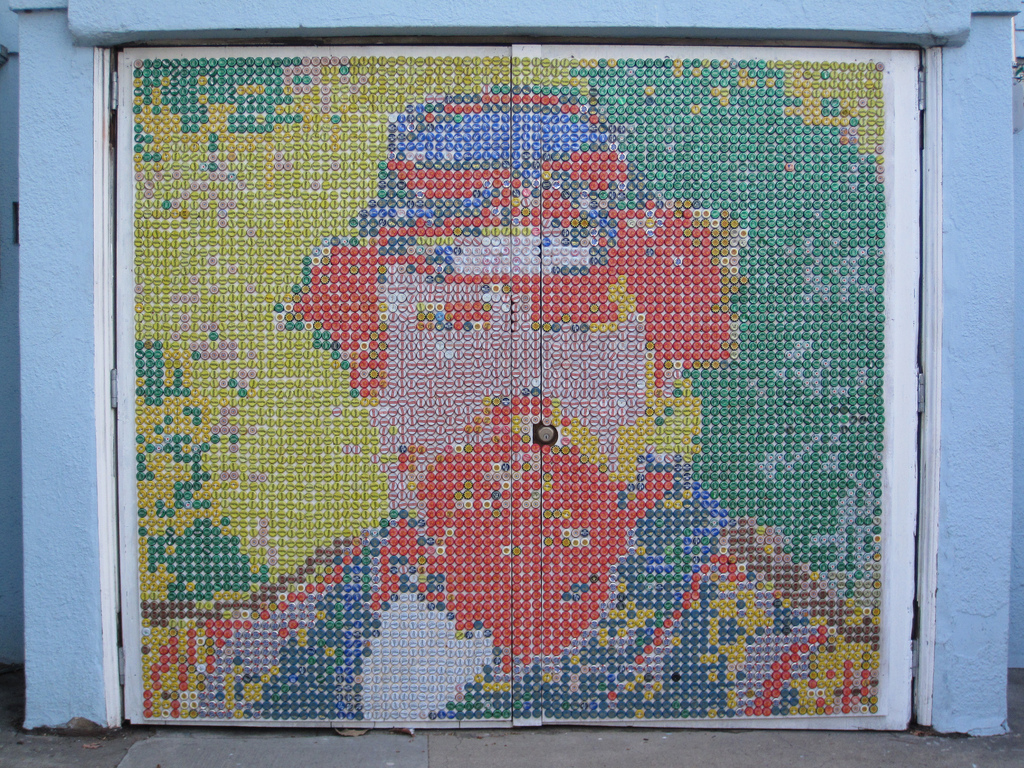 Mural in bottle caps, 2011, by Scott Bowers.  Located at 2785 Bryant Street, San Francisco. Photograph  ©  2011 Dave Schweisguth.