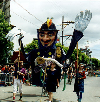Emperor Norton puppet, 1997, by Mona Caron.  For 1997 San Francisco Carnival parade. Source:  Mona Caron .
