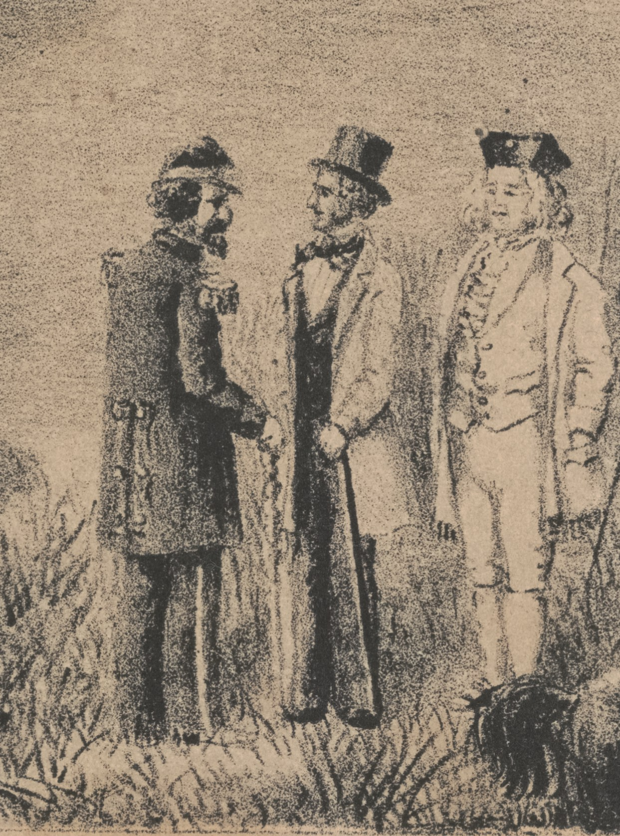 Detail from lithograph of  First Annual Encampment of the Second Bridge C.M.; Brigadier General Ellis, Commanding; Reviewed by His Excellency Gov. Stanford; Brigade Drill and Shamfight Oct. 14th 1863  (1863), by T. Grob. Stanford University Archives. Click this image to view the full painting. Emperor Norton is seen at the bottom speaking with two others, one of whom appears to be Frederick Coombs a.k.a. George Washington II (d. 1874).