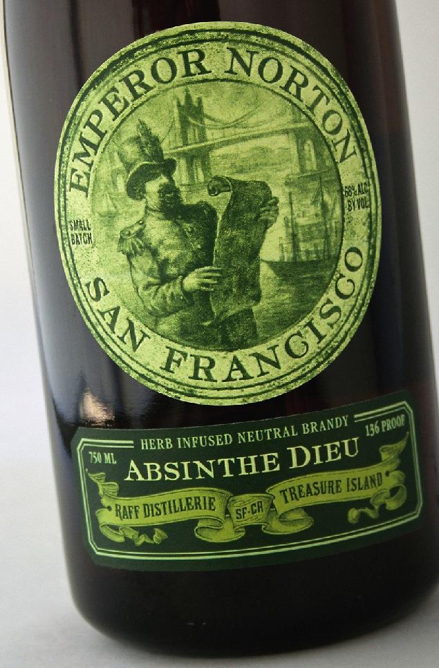 Label design, 2012, for Raff Distillerie's Emperor Norton Absinthe Dieu, by Austin Design Group.   © 2012 Austin Design Group. Source:  Austin Design Group .