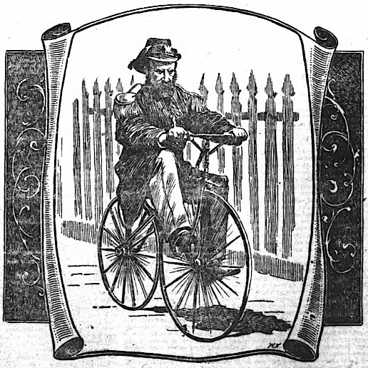 """Drawing of  1869 photograph  by Eadweard Muybridge (1830-1904) in  San Francisco Chronicle , 9 July 1899.  The drawing was an illustration for a feature """"A Relic of the Later Sixties: The Later Emperor Norton on an Old-Time Velocipede."""" Click on image to view the full feature. Source: Newspapers.com."""