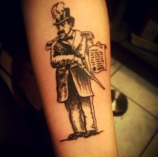 Emperor Norton tattoo, 2013, by Thaoe Rivas.  Done at Cold Steel Tattoo in Haight-Ashbury, San Francisco. Source:  Katelyn Roberts .