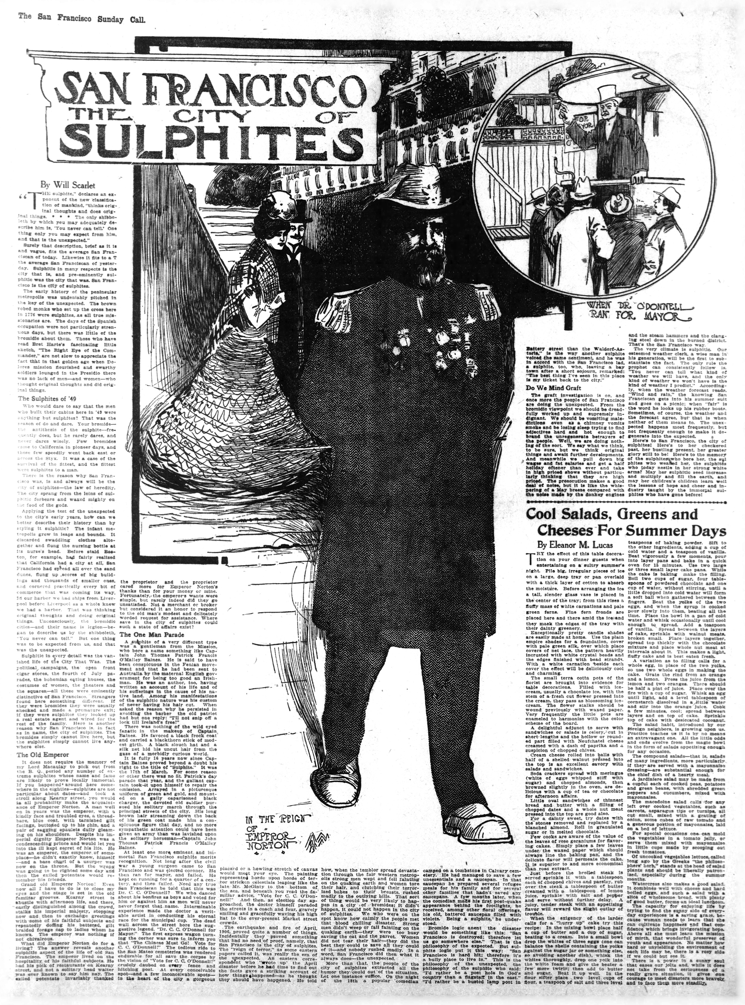 """""""In the Reign of Emperor Norton,"""" in the  San Francisco Call  newspaper of Sunday 18 August 1907.  Artwork for article, """"San Francisco: The City of Sulphites,"""" by Will Scarlet. Source:  California Digital Newspaper Collection ."""