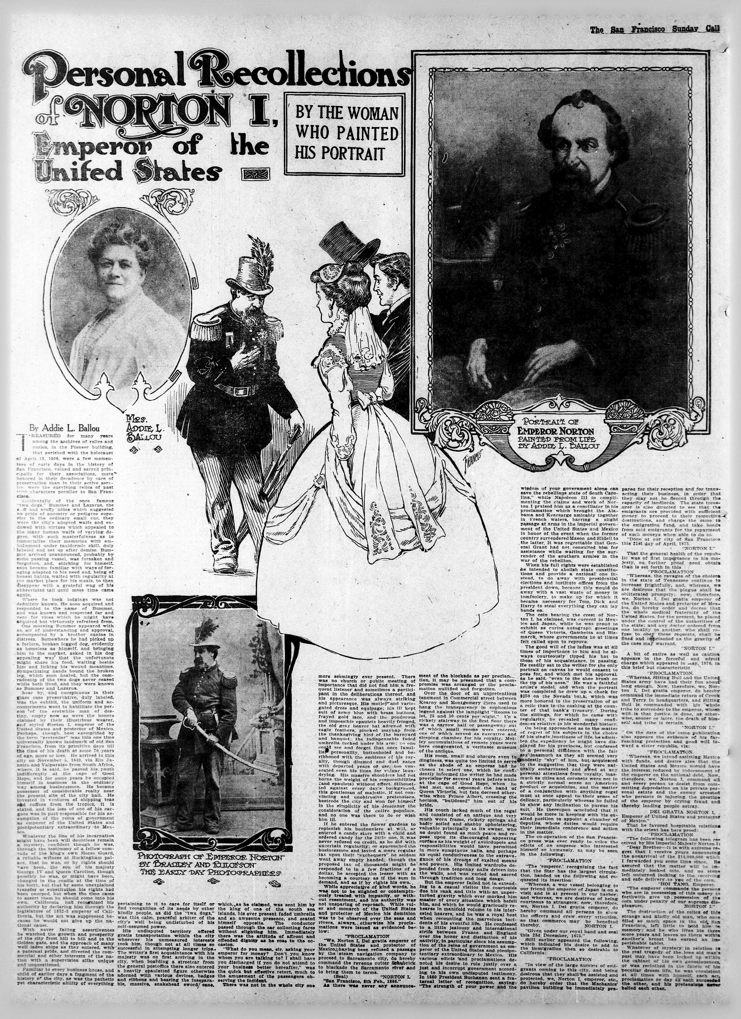 """Illustration in the  San Francisco Call  newspaper of Sunday 27 September 1908.  Artwork for article, """"Personal Recollections of Norton I, Emperor of the United States,"""" by Addie L. Ballou. Source:  California Digital Newspaper Archive ."""