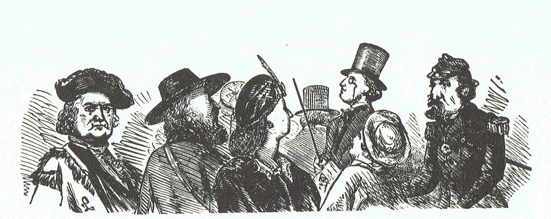 The Promenade  (1860s), artist unknown.  This group illustration shows Emperor Norton on the right. The appearance of Frederick Coombs, the self-styled George Washington II, on the left points to an 1860s date for the work, as Coombs was active in San Francisco for much of that decade but had left and was in New York City by 1868. Source:  The Forgotten Characters of Old San Francisco  (The Ward Richie Press, 1964); credited there as being from the collection of Robert G. Cowan (1895-1993).