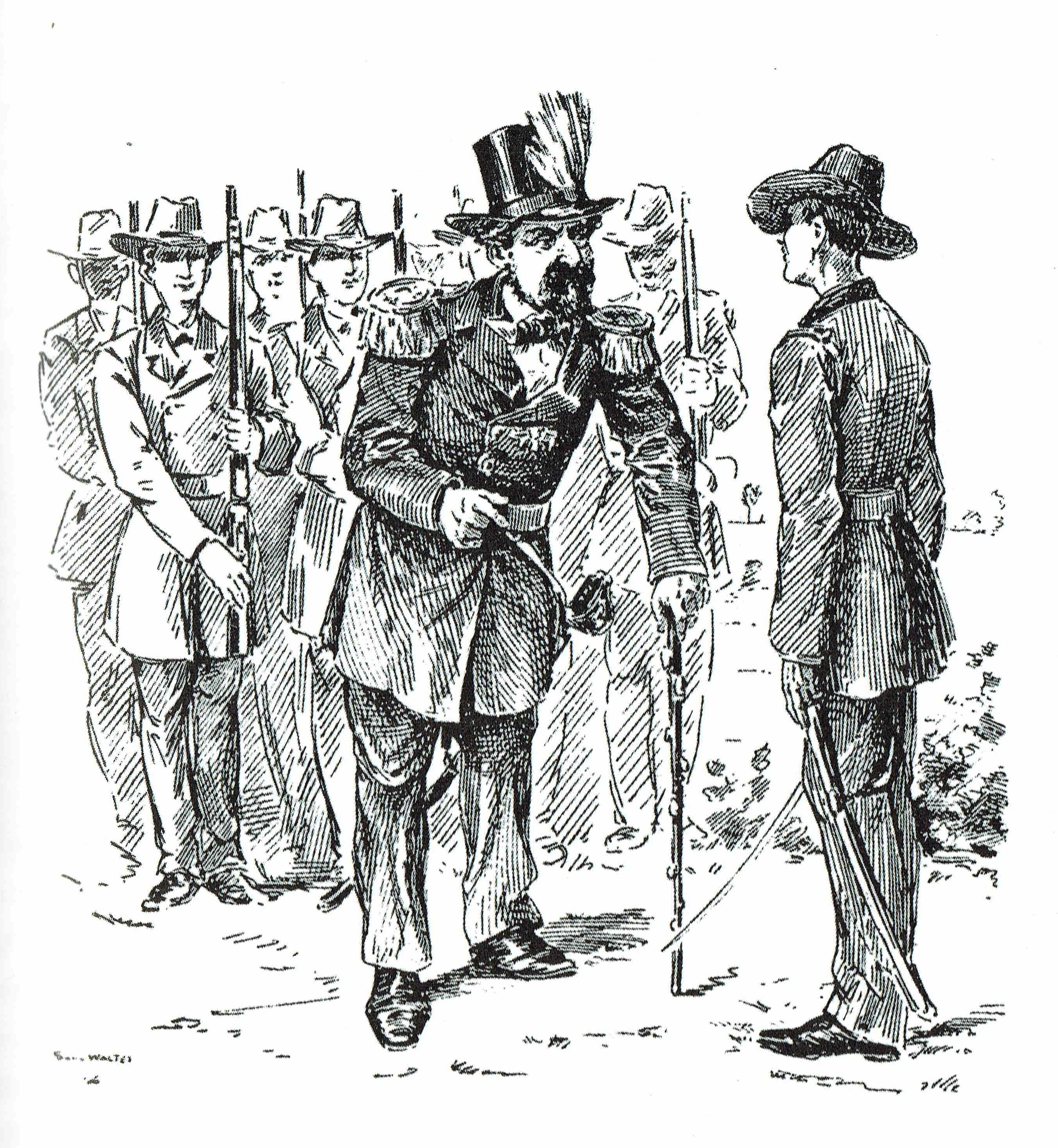 """Emperor Norton, Reviewing the University Battalion at Berkeley  (1892), by Solly Walter (1846-1900). This originally appeared as an illustration for Francis E. Sheldon's article, """"Street Characters of San Francisco,"""" in  The Overland Monthly  of May 1892.Original article:  Making of America . Image: Richard Schwartz,  Eccentrics, Heroes,and Cutthroats of Old Berkeley  (RSB Books, 2007)."""