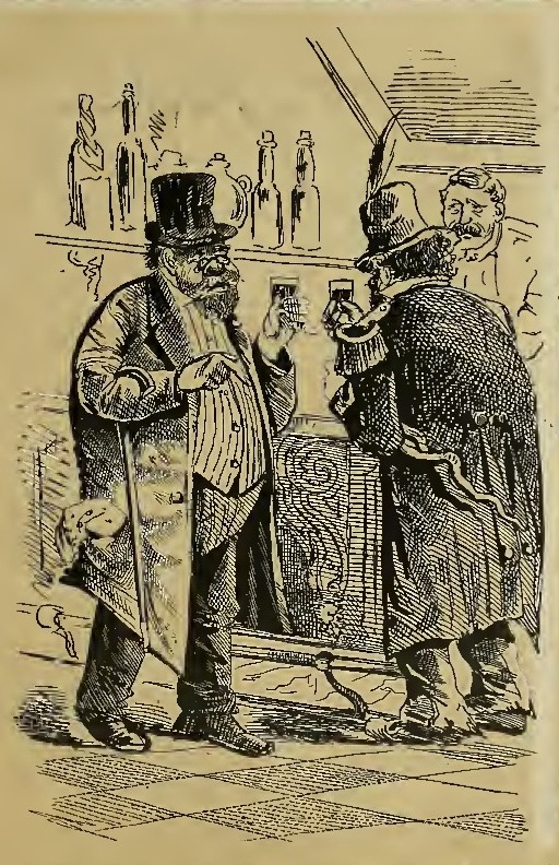 Detail of comic, 1876, by George Frederick Keller (1846-c.1927).  The comic appeared on the cover of the 9 December 1876 issue of  The Wasp  magazine. Click on image for the full cover, comic and captions. Source:  Internet Archive .