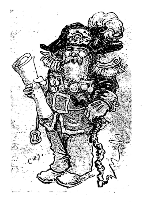 """Undated illustration of Emperor Norton as imagined by Charles William Saalburg (1865-1950).  Source: Charles W. Saalburg, """"San Francisco of the '80s Abounded in Notables,""""  The New York Times ,3 January 1926 ( pdf )."""