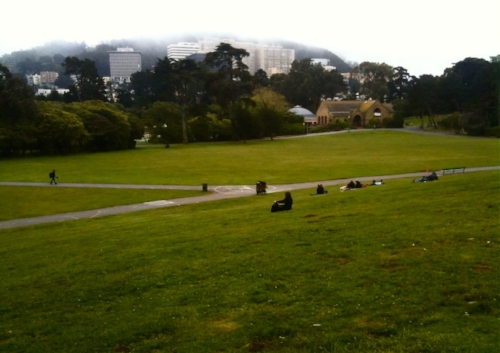 View of Sharon Meadow and the Sharon Art Studio (top center right)  from Hippie Hill in Golden Gate Park, San Francisco.  Photograph   ©   2010  J. Fred Decker .