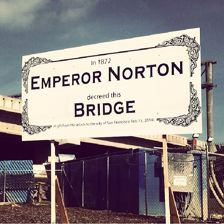 Alas, The Emperor's Bridge Campaign can't claim credit for this excellent sign that went up next to the Bay Bridge's Fifth Street, San Francisco, onramp in February 2014. But we absolutely endorse the sentiment. Photo © 2014 by Aaron Muszalski.