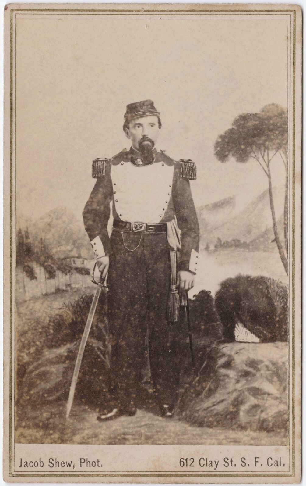 [Photograph of Emperor Norton [?]].     Carte de visite , c.1860, b y Jacob Shew (1826-1879). Part of the Carl Mautz Collection at the   Beinecke Library,   Yale University.   Full catalog entry  .