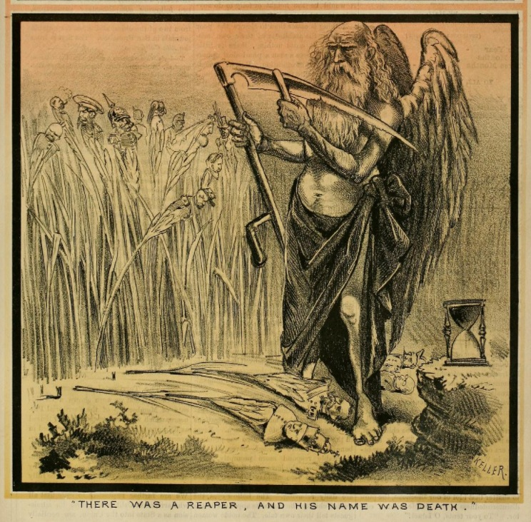 There Was a Reaper, and His Name Was Death , comic by George Frederick Keller (1846-1927).  Cover illustration for the  San Francisco Illustrated Wasp,  V2 N81, 16 February 1878. Collection of the California State Library. Source:  Internet Archive  (click here for full cover and to enlarge with greatest clarity).