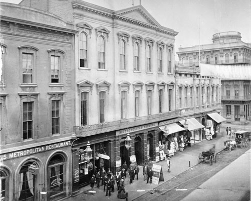The Metropolitan Theater, at Jackson and Montgomery Streets, San Francisco, in 1865.  Source:  San Francisco Public Library .