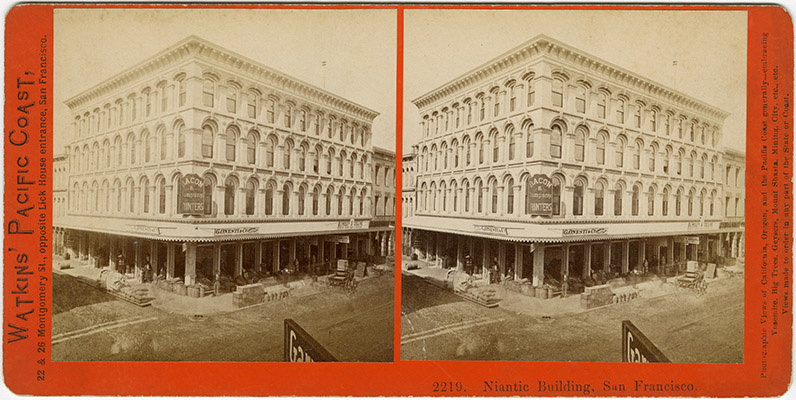 Stereograph of the Niantic Building (1872), San Francisco, by Carleton Watkins (1829–1916); possibly dated 1874. Source:  San Francisco Public Library .