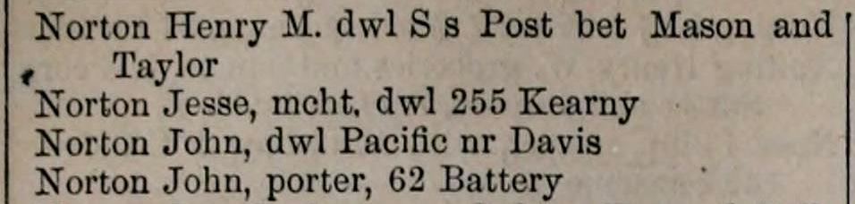 Snippet of the Langley's 1859 directory for San Francisco  with listing for a Jesse Norton living at the same address where Joshua Norton was listed in the previous year's directory .  Source:  Internet Archive .