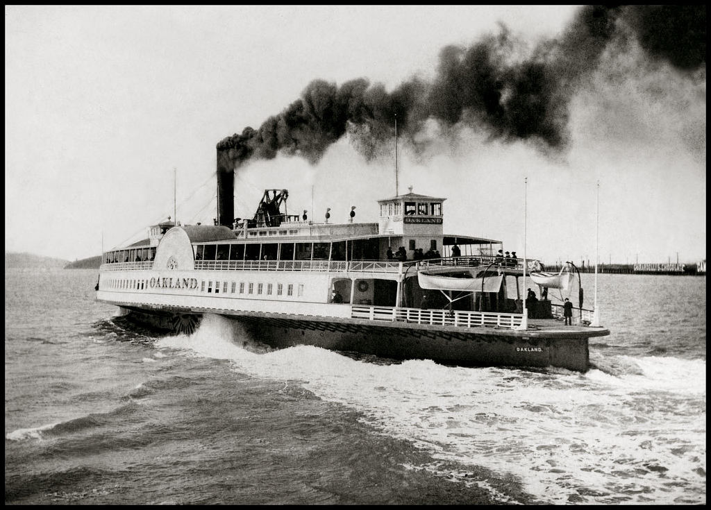 Steam ferry The Oakland, c.1875.   Emperor Norton may have ridden on this ship, which operated as part of a partnership between Oakland's first — by then, past — mayor, Horace Carpentier (1824–1918), and the Central Pacific Rail Road. Collection of the Oakland History Room / Oakland Public Library. Source:  Bennett Hall .