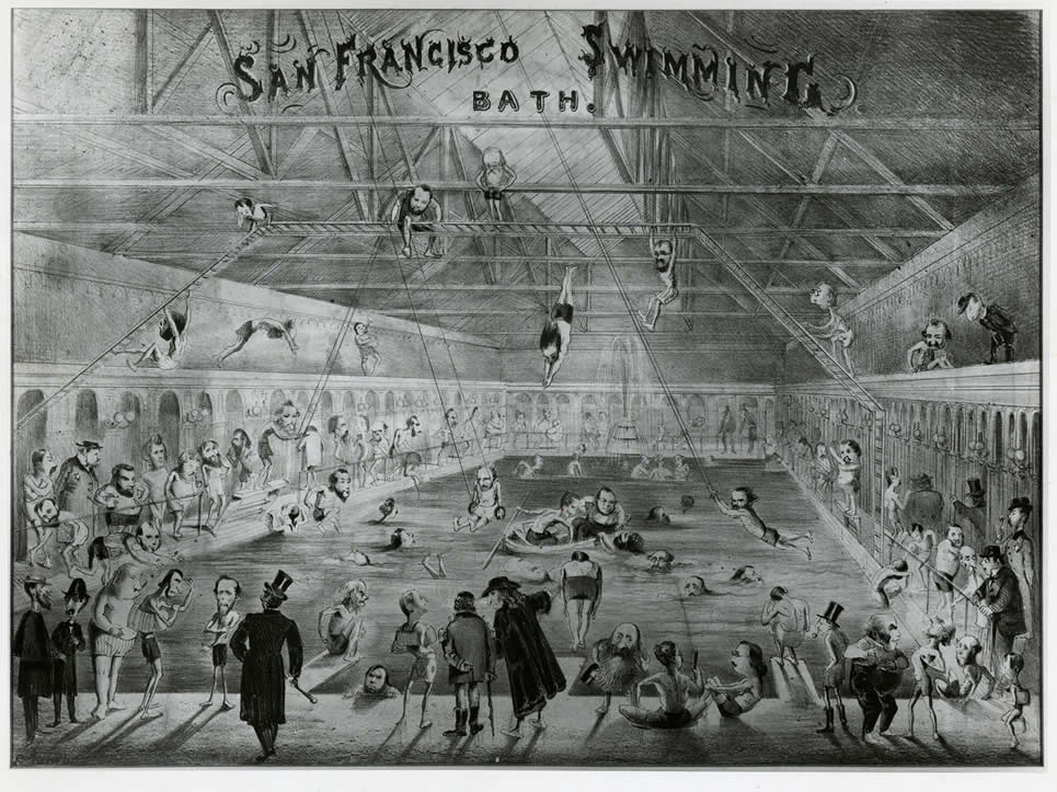 """San Francisco Swimming Bath,"" February  1866, by Edward Jump (1832-1883).   Emperor Norton is seen conferring with Freddie Coombs a.k.a. George Washington II at the bottom center left of the comic. Collection of the California Historical Society. Source:  TwainQuotes.com"