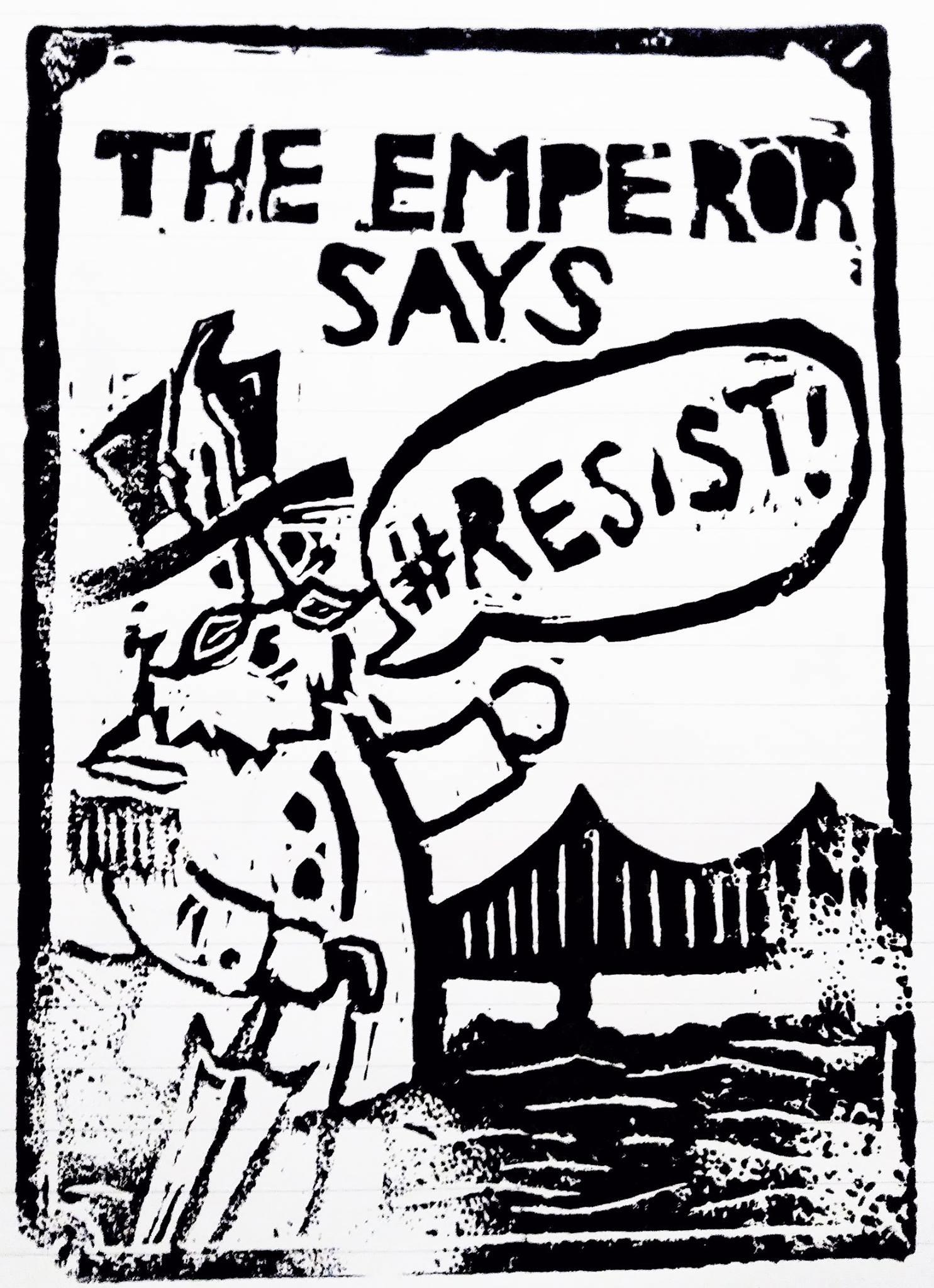 """#Resist,"" March 2017, by Aaron Almanza.  Linocut print. ©2017 Aaron Almanza. Source:  Aaron Almanza ."