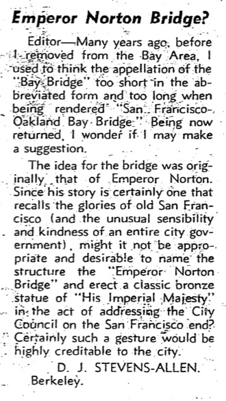 Letter to the Editor from D.J. Stevens-Allen, of Berkeley, Calif.,  San Francisco Chronicle , 12 July 1960 , p.26. Click image for PDF of the full page. Source: San Francisco Public Library.