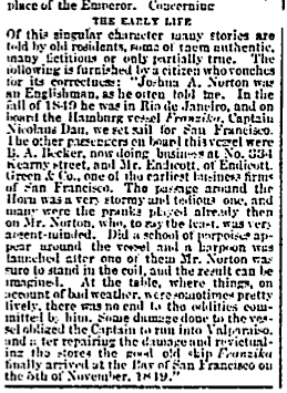 "Excerpt from article, ""Le Roi Est Mort,""  San Francisco Chronicle , 11 January 1880.  Source: San Francisco Public Library. For a PDF of the full article as it originally appeared, click  here ."