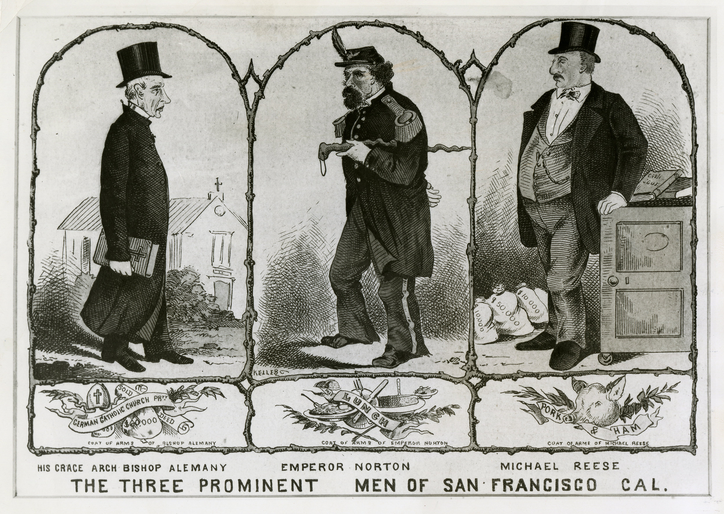 """""""The Three Prominent Men of San Francisco, Cal."""", c.1876–1878, by George Frederick Keller (1846–1927).  Source: Portrait Collection, California Historical Society, PC-PT_00191. A modified version of the Norton illustration accompanied a piece on Norton that appeared in the San Francisco Bulletin of 20 December 1913. This later version is  here ."""