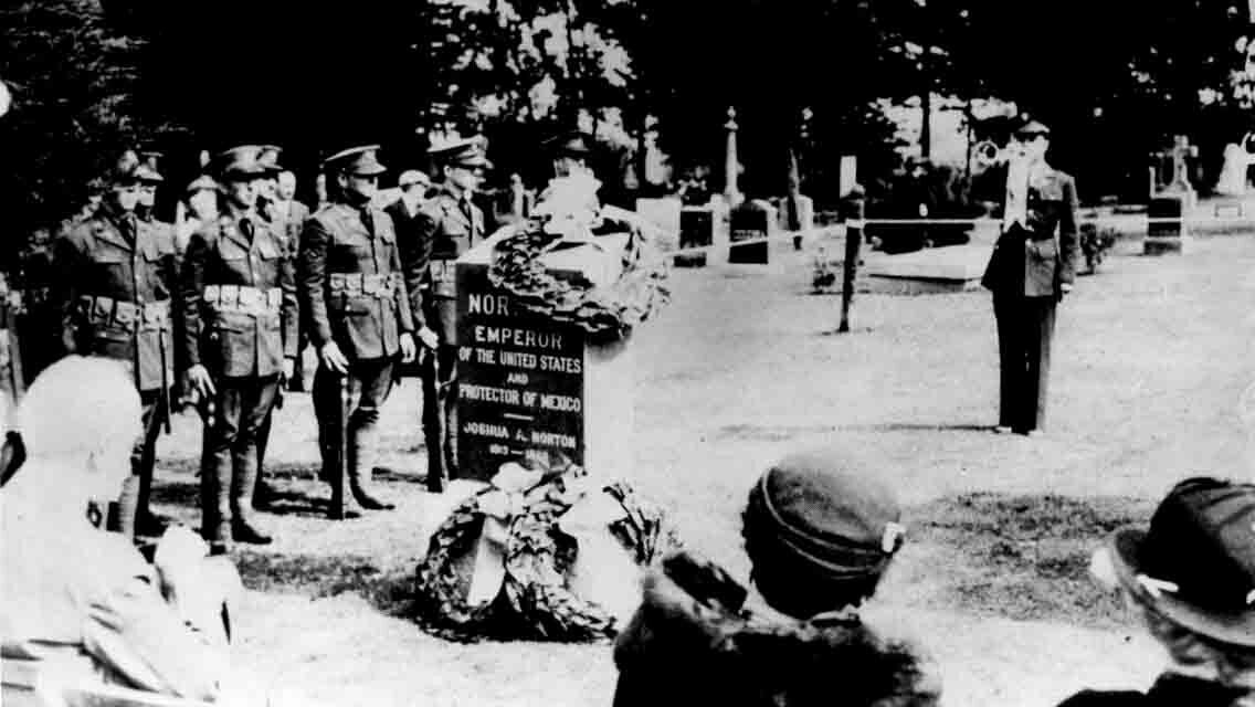 Dedication ceremony for reburial of Emperor Norton, with new headstone,in Woodlawn cemetery, Colma, Calif., 30 June 1934.  Source:  Jewish Museum of the American West .