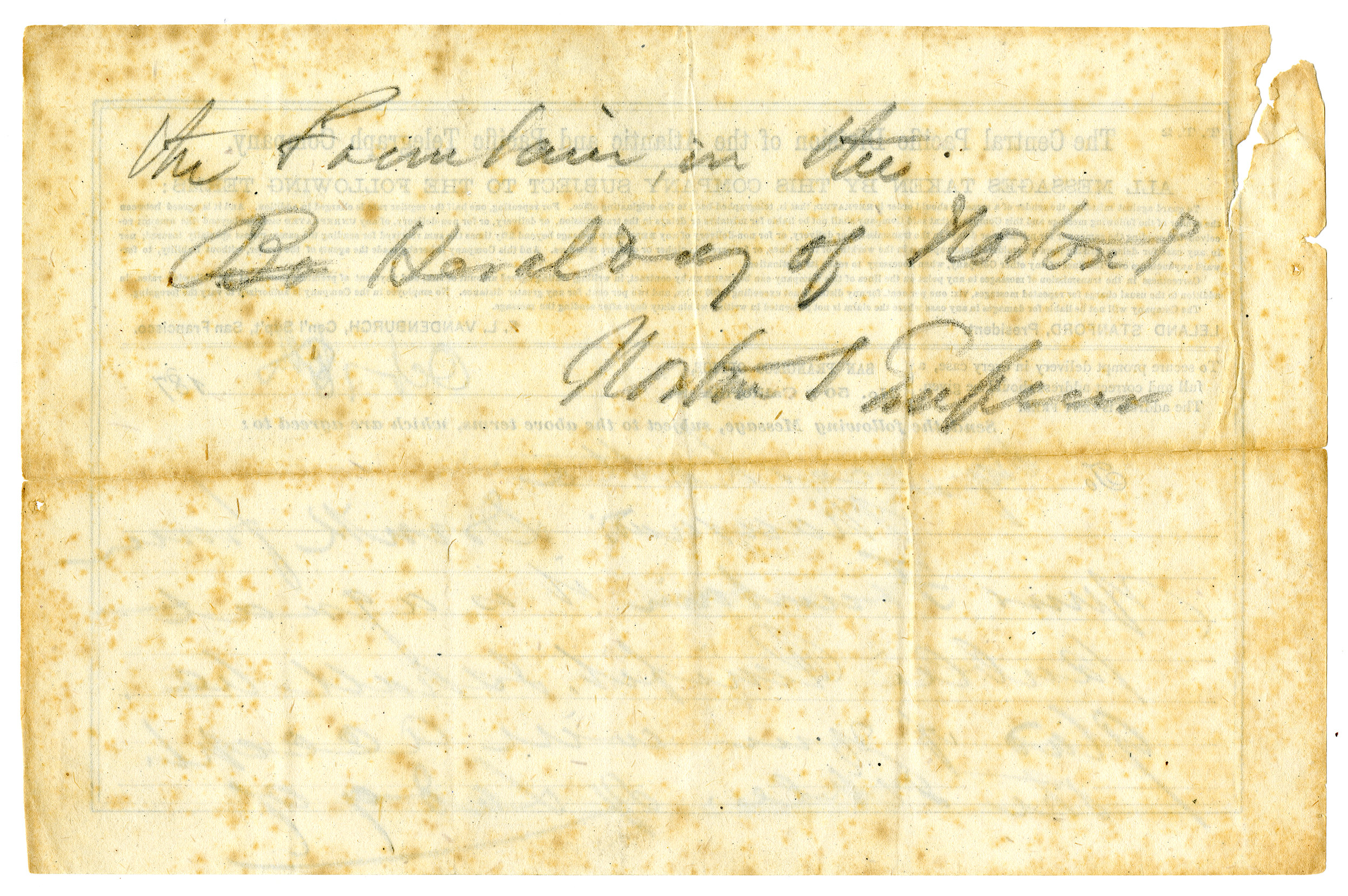 Telegraph to Lotta Crabtree , 18 October, Emperor Norton telegrams and promissory notes, 1872–1879, undated, MS Vault 73, California Historical Society, MS-Vault-73_001a (front) and MS-Vault-73_001b (back).