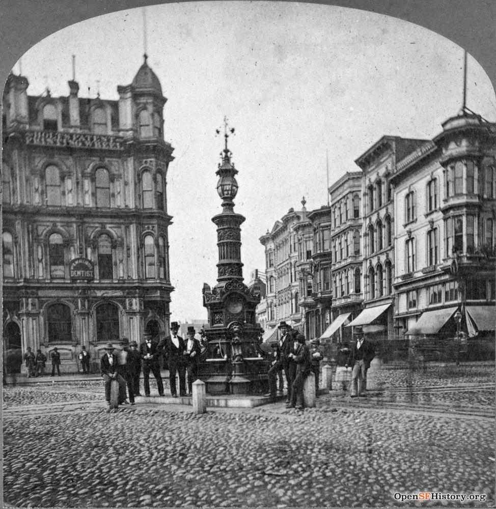Lotta's Fountain, at Market, Kearny and Geary Streets, San Francisco, c.1880.  Source:  OpenSFHistory /wnp24.oo33a.jpg