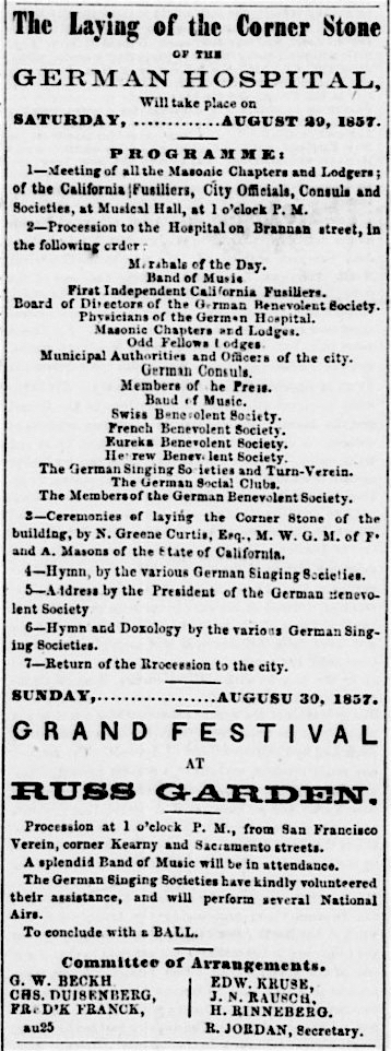 Ad for German Benevolent Society events surrounding the laying of the cornerstone of the German Hospital ,  Daily Alta California , 25 August 1857. Source:  California Digital Newspaper Collection .