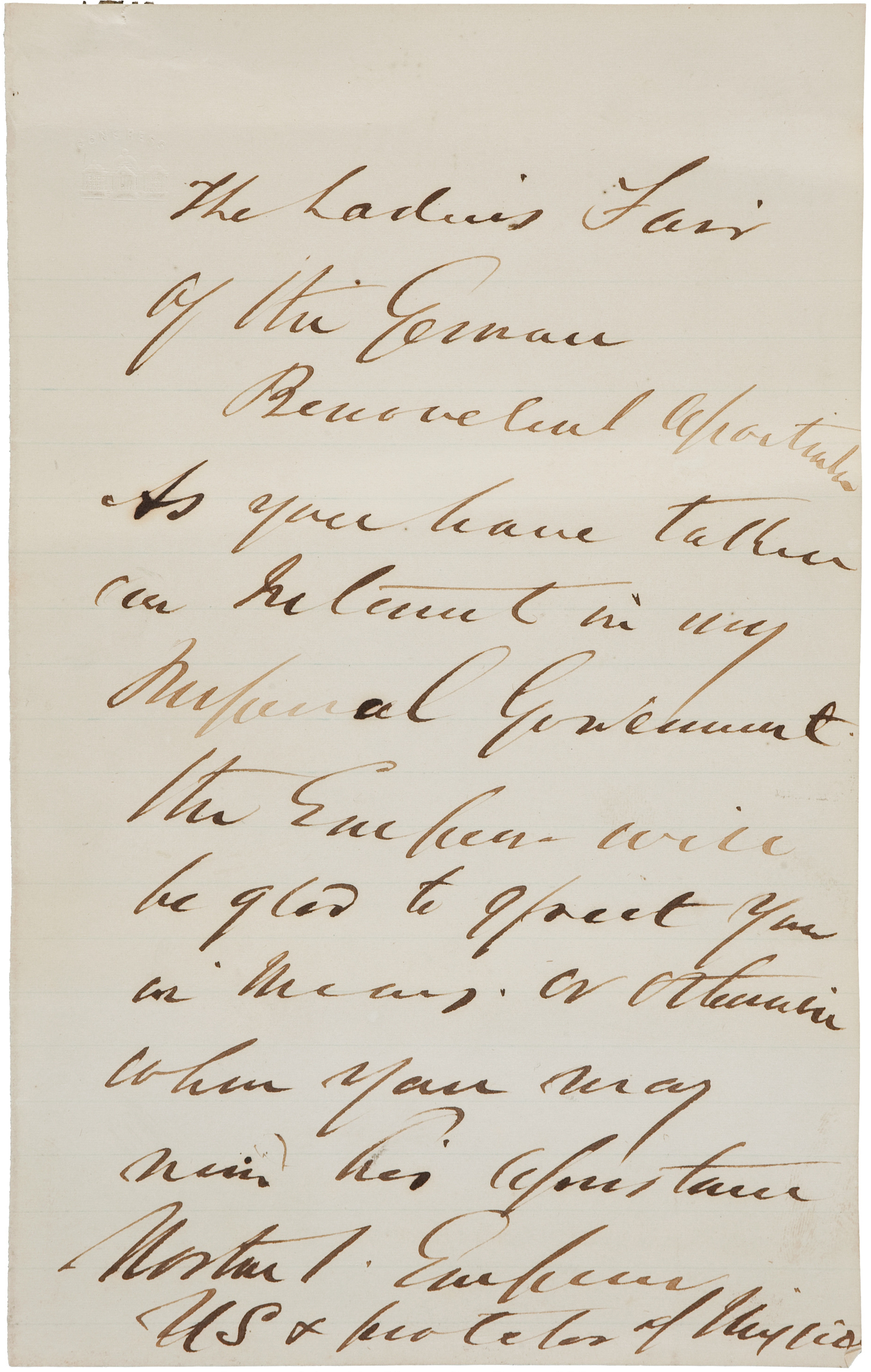 """Letter written and signed by Emperor Norton to the Ladies'Fair of the German Benevolent Society, c.1878.  Image courtesy of  Heritage Auctions . (Note: Heritage Auctions has this letter as """"n.d."""" — by which the house means """"No Date."""")"""