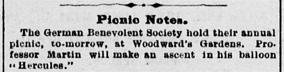 Item re annual picnic of the German Benevolent Society ,  Daily Alta California , 11 May 1878. Source:  California Digital Newspaper Collection .