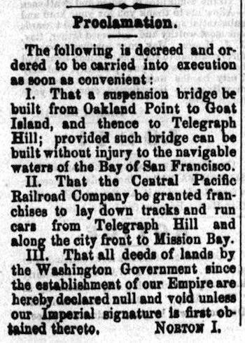 EMPEROR NORTON'S BRIDGE PROCLAMATION OF 23 MARCH 1872 | Pacific Appeal