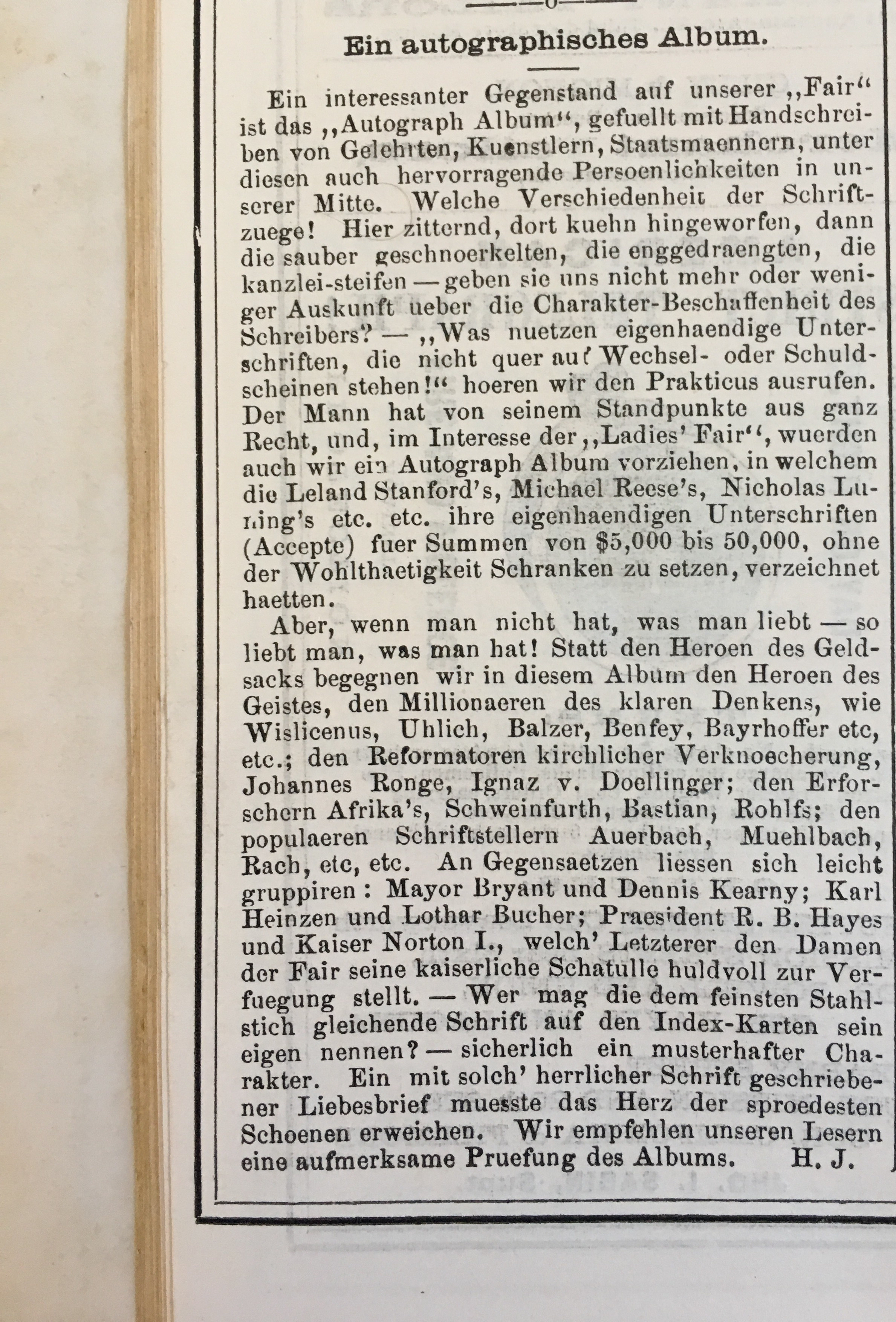 """""""An autographical album,"""" article in  The Daily Fair Report,  vol. 1, no. 5, Saturday, March 2, 1878.  Image courtesy of Scott Brown of Eureka Books, in Euke, Calif."""