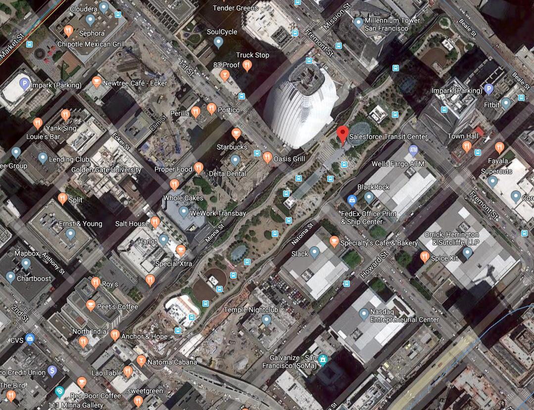 Transbay (Salesforce) Transit Center.  Screen cap of Google Maps satellite view.